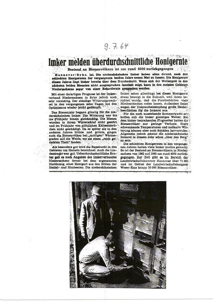 Imker melden überdurchschnittliche Honigernte_1964