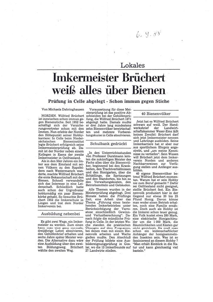 Imkermeistermeister Brüchert weiß alles über Bienen_1988