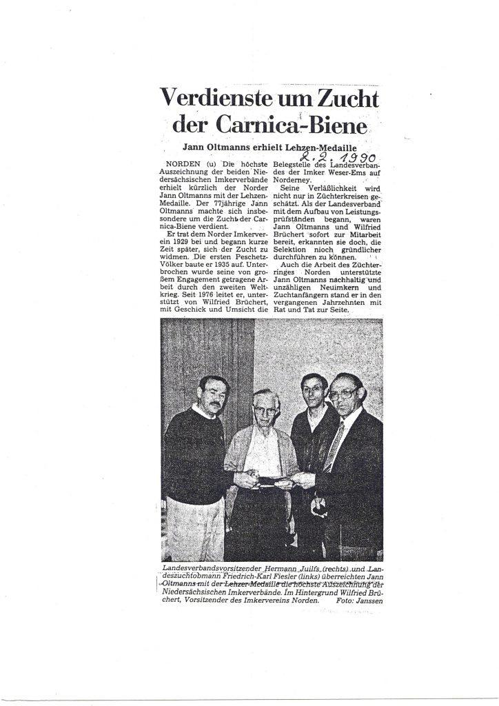 Verdienste um Zucht der Carnicabiene_1990
