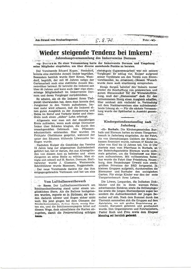 Wieder steigende Tendenz bei Imkern_1970